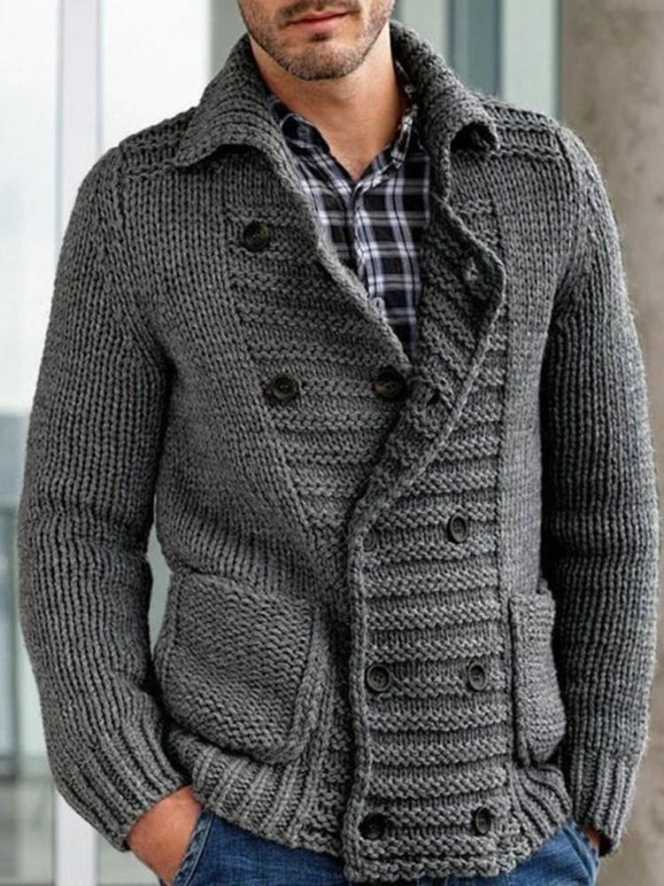 Standard Button Plain Loose Double-Breasted Sweater
