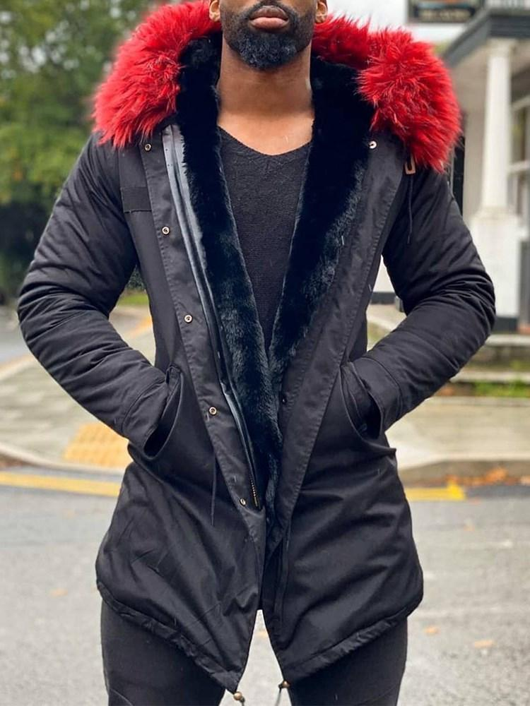 Patchwork Mid-Length Hooded Zipper Casual Down Jacket