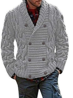 Lapel Plain Standard Loose Double-Breasted Sweater