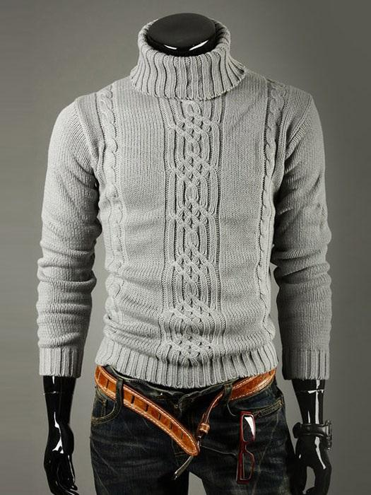 Geometric Print Turtleneck Spring Slim Sweater