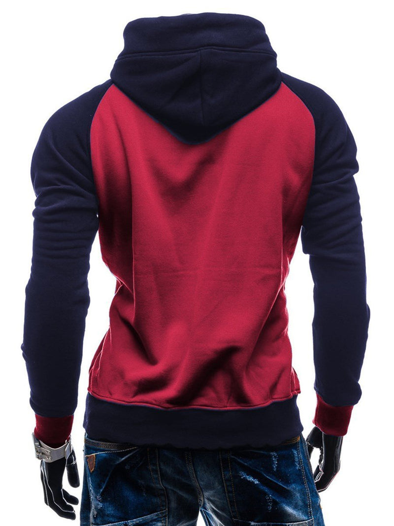 Color Block Patchwork Pullover Slim Pullover Hoodies