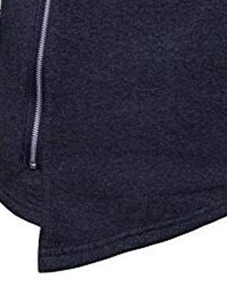 Zipper Plain Thick Hooded Winter Hoodies