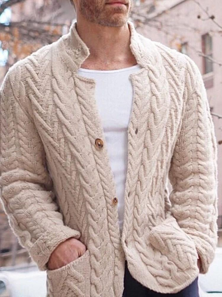Plain Button Mid-Length Winter Single-Breasted Sweater