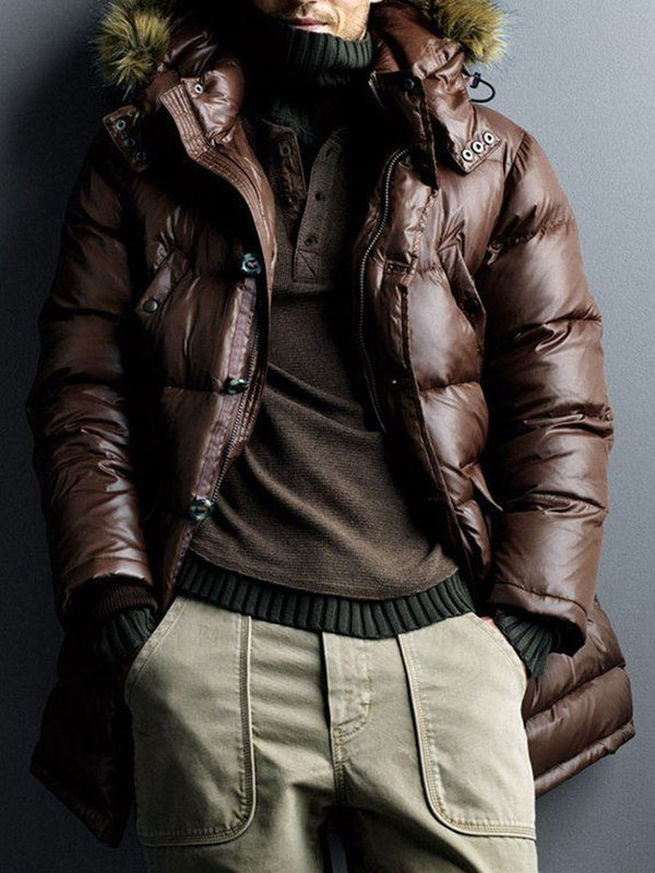 Plain Mid-Length Casual Single-Breasted Down Jacket