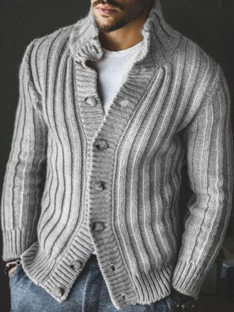 Standard Button Plain Slim Casual Sweater