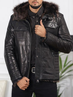 Standard Plain Hooded Winter Zipper Leather Jacket