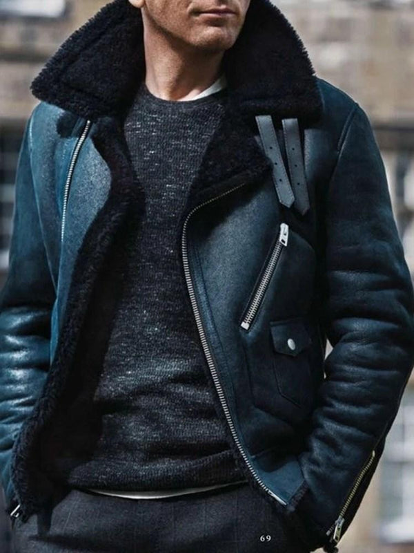 Lapel Thick Zipper Casual Winter Jacket