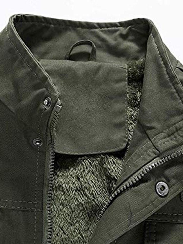 Plain Stand Collar Thick Casual Zipper Jacket