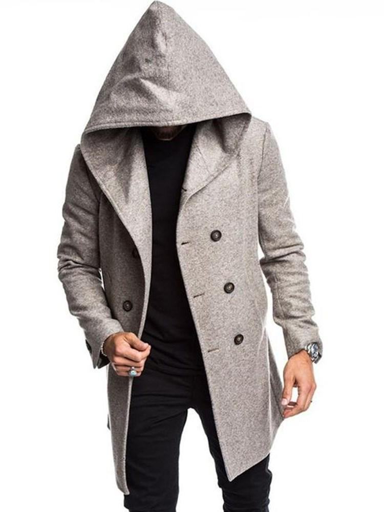 Pocket Hooded Mid-Length Double-Breasted Winter Coat