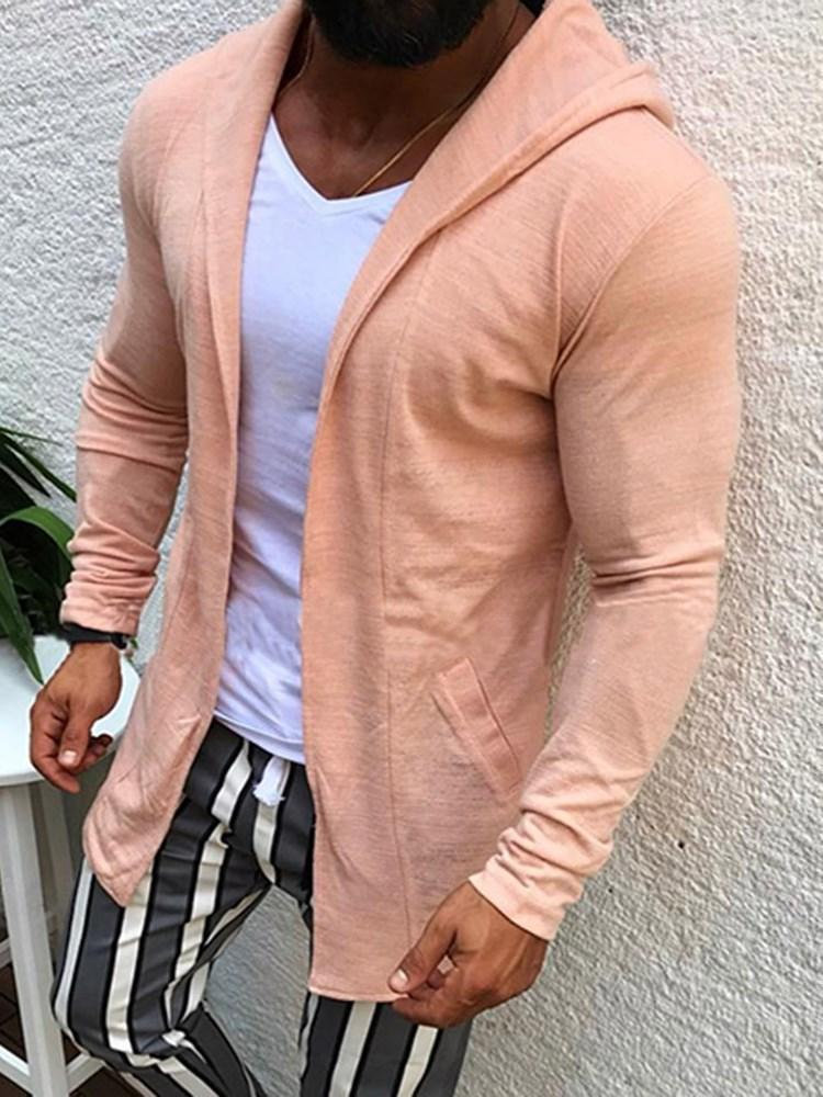 Plain Hooded Casual Fall Jacket