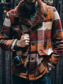 Mid-Length Patchwork Plaid Winter Straight Coat