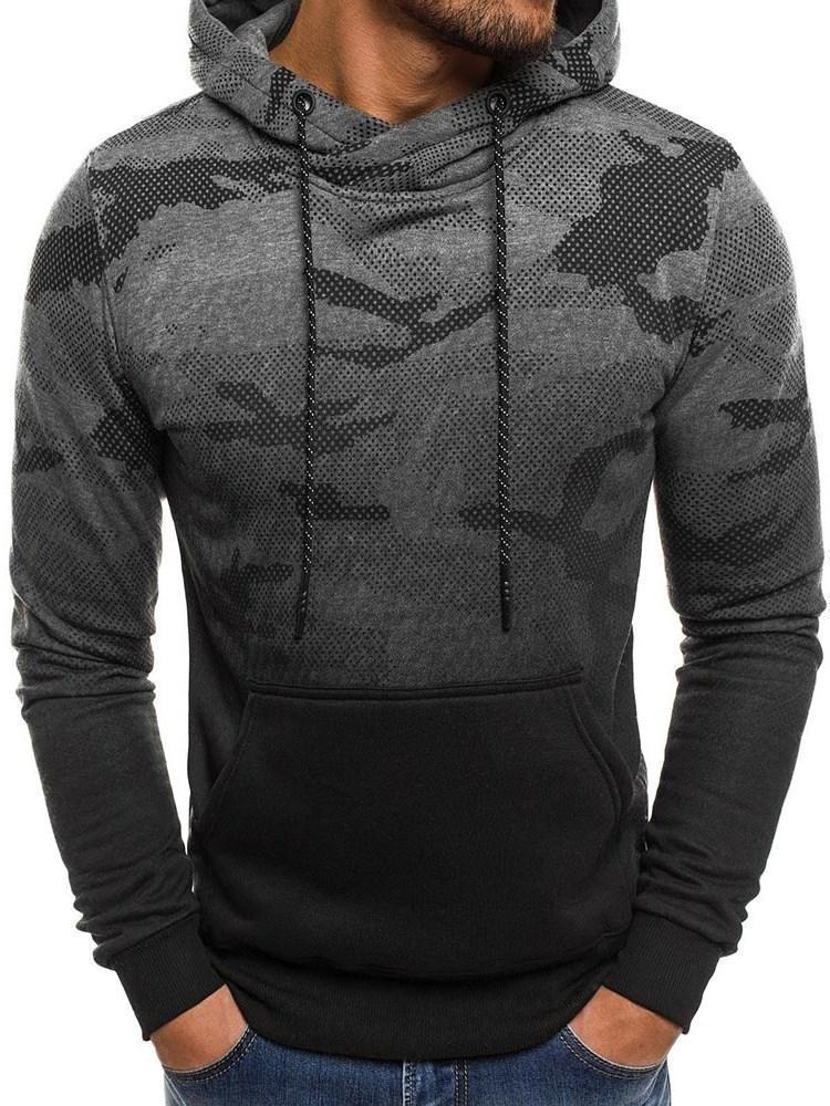 Patchwork Pullover Camouflage Loose Fall Hoodies