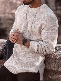 Round Neck Mid-Length Plain Fall Loose Sweater