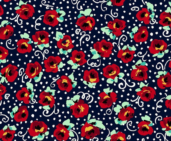 Adeline-Red Flowers on Navy