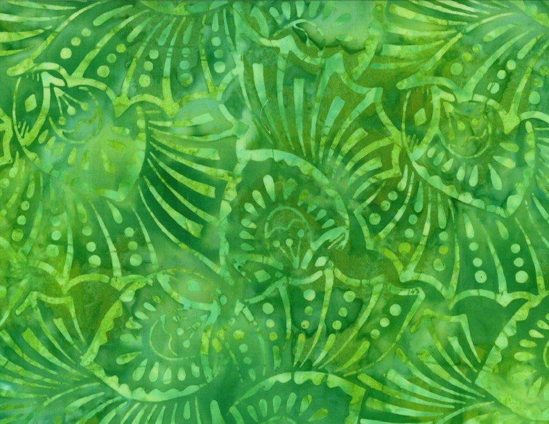Batavian Batiks - Green, Large Leaf