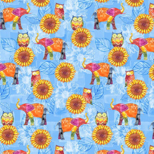 Color My World-Animals, Sunflowers on Blue