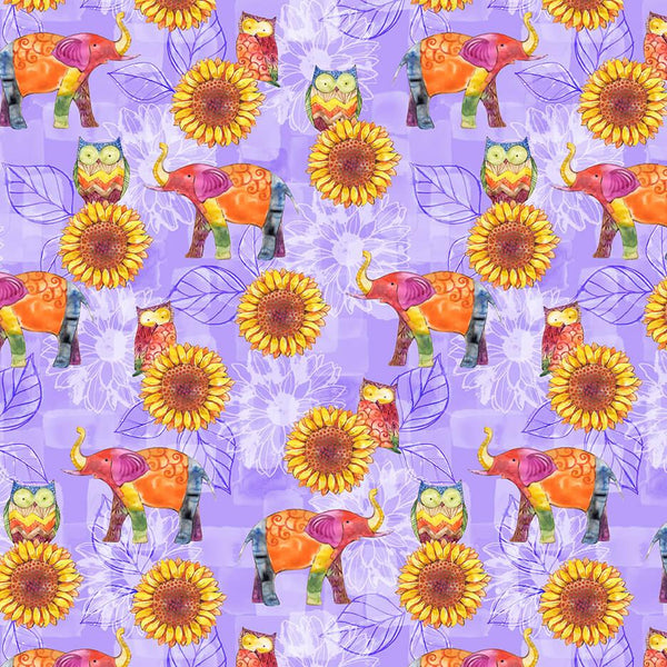 Color My World-Owls,Elephants & Sunflowers on Violet