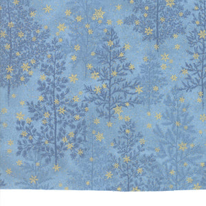Forest Frost Glitter-Trees,Gold Snowflakes on Blue