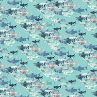 Kaikoura-Shark  Frenzy on Light Blue