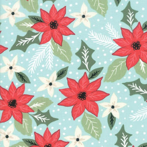 Little Tee-Poinsettias on Light Blue