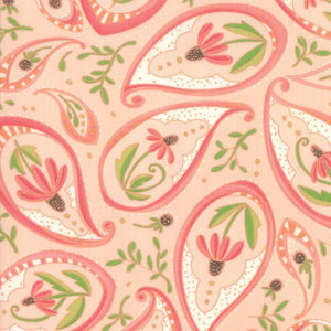 Painted Meadow-Large Paisley on Salmon