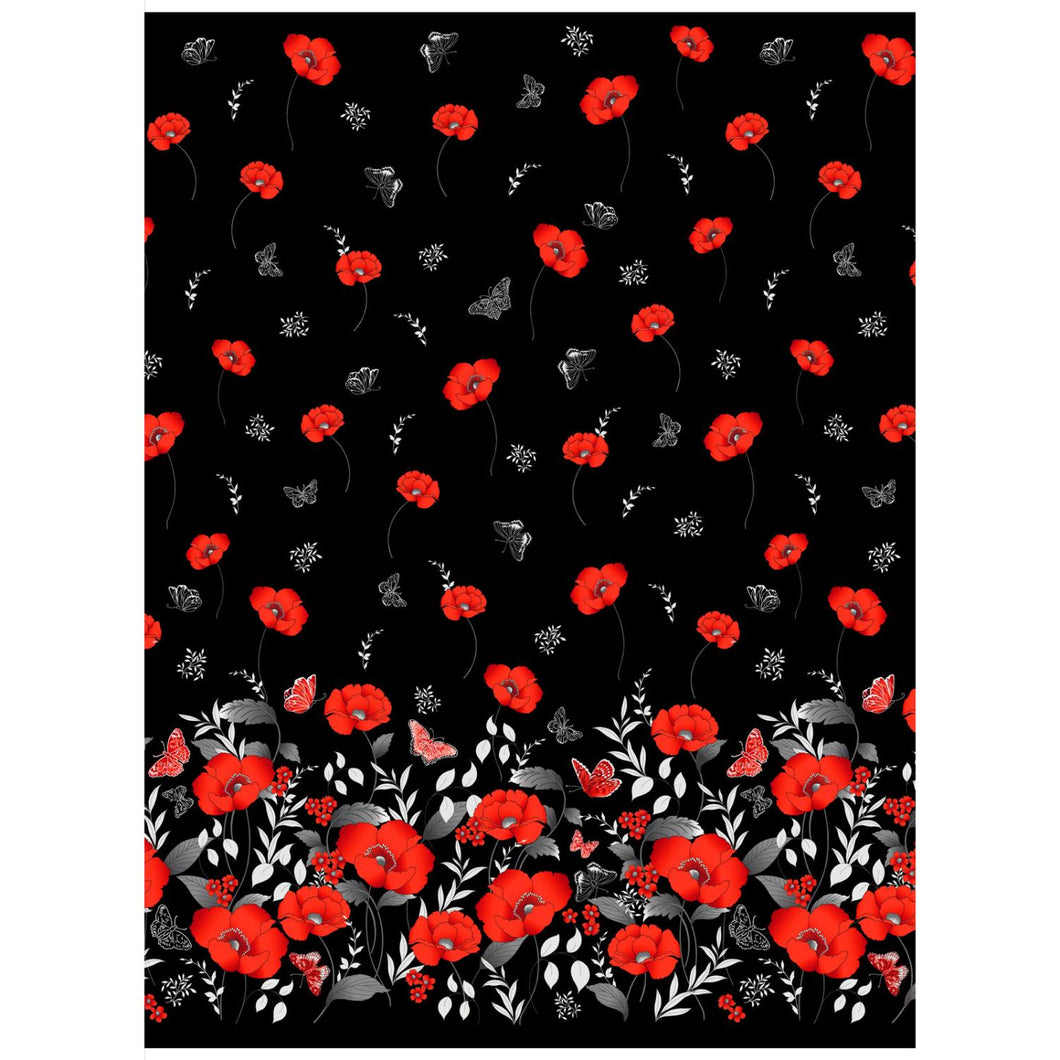 Poppy Promenade-Border Print on Black