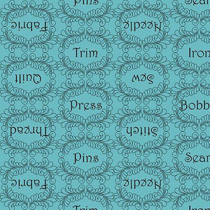 The Quilted Cottage-Sewing Words,Blue