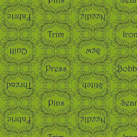 The Quilted Cottage-Sewing Words, Green