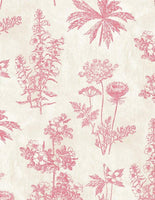 Tivoli Garden-Pink Floral Toile on Cream