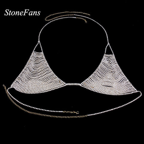 Rhinestone Crystal Chain Mail Bra