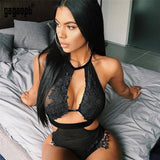 Gagaopt New Lace Floral Hollow Out Mesh Bodysuit