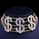 Bling RICH Money Rhinestone Choker Necklace Collar