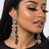 Rhinestone Money Sign Long Drop Earrings