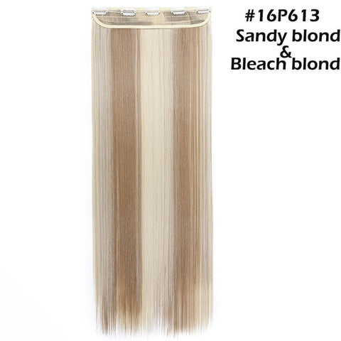"42 colors 26"" long straight 5 clip in one piece hair extension"