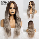 Long Wavy Ombre Brown Blonde Synthetic Wigs Heat Resistant Fiber