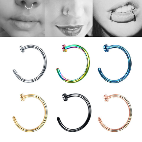Stainless Steel Nose Septum Lips Ring No Piercing