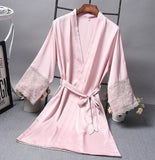Satin Elegant Sexy Lace Sleeve Short Robe (Black/White/Pink/Gray)