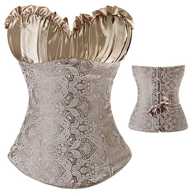 French Court Sexy Paisley Satin Corset Plus Size S-6XL (Gold)