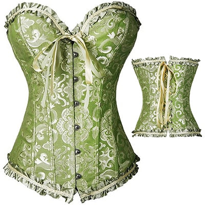 Sexy French Court Embroidery Corset Plus Size S-6XL (Green)