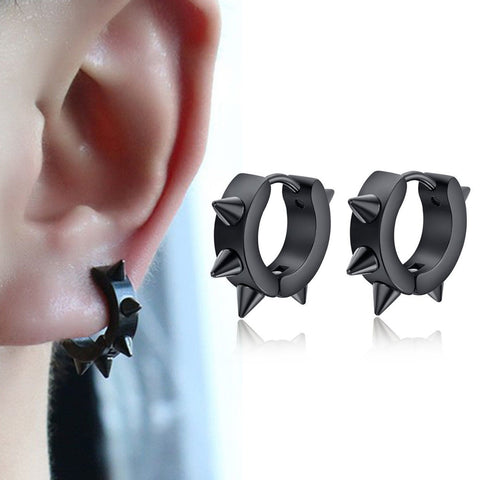 Punk Gothic Black Stainless Steel Rivet Hoop Earrings