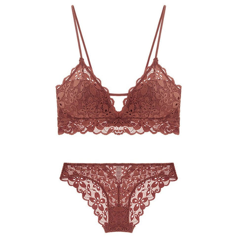 Sexy Spaghetti Strap Embroidery Lace Push-up Bra And Panty Set