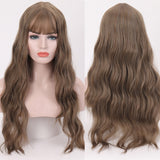 Long Wavy Womens Wigs with Bangs Heat Resistant Synthetic