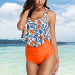Ruffle Floral Printed Top Swimsuit Beachwear High Waist Retro Plus Size