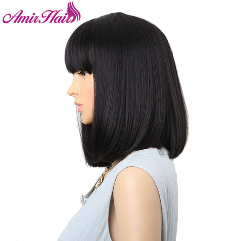 Straight Synthetic Wigs With Bangs Medium Length Bob