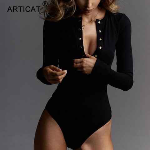 Articat Ribbed Knitted Sexy Bodycon Bodysuit