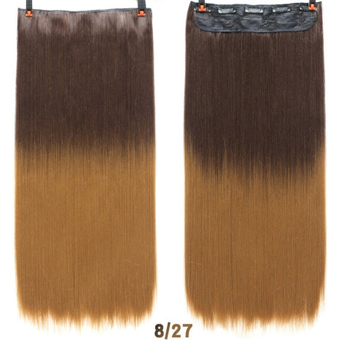 24'' Long Straight Ombre Women Clip in Synthetic Hair Extensions High Temperature Fiber