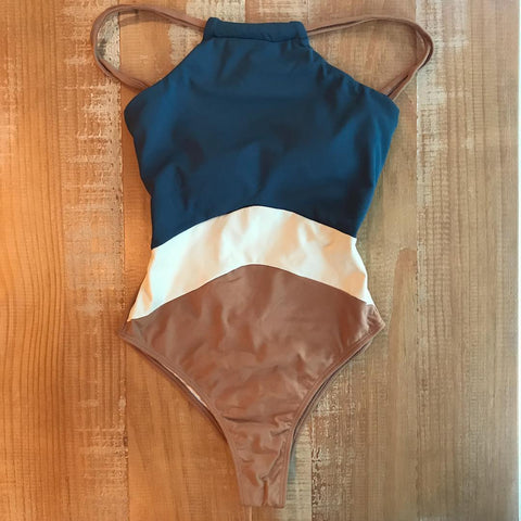 Tri-Color Bands One Piece Swimsuit High Neck Bodysuit