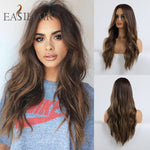 Long Black to Brown Ombre Synthetic Wigs Heat Resistant