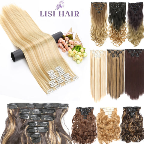 6pcs/set 24inch Long Straight and Curly Synthetic Hair extensions