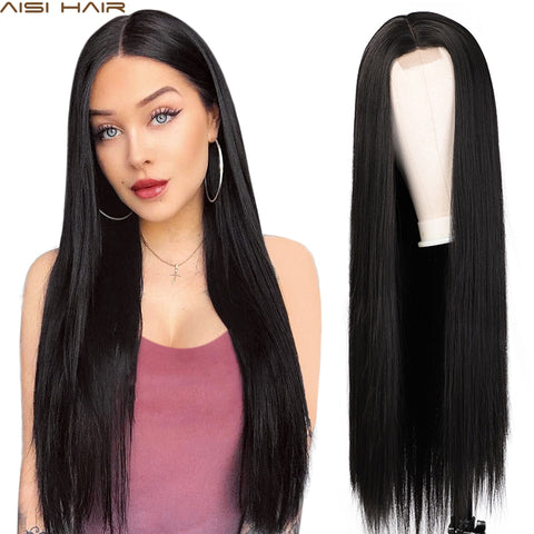 "30"" Long Straight Synthetic Wigs (various colors)"
